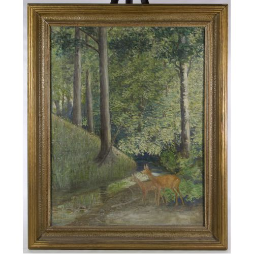 """Unknown Artist (20th Century) """"Deer in Forest"""" Oil on Canvas"""