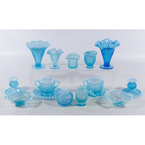 Blue Hobnail Vase and Bowl Assortment