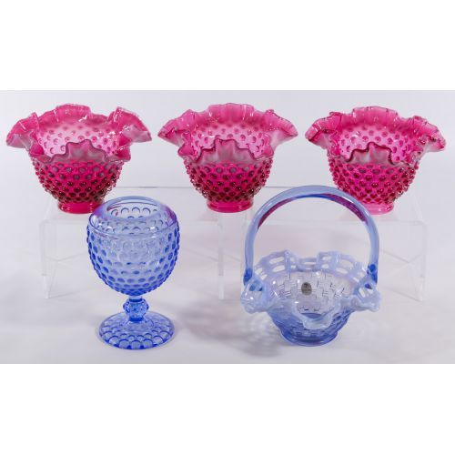 Blue and Red Hobnail Glass Assortment