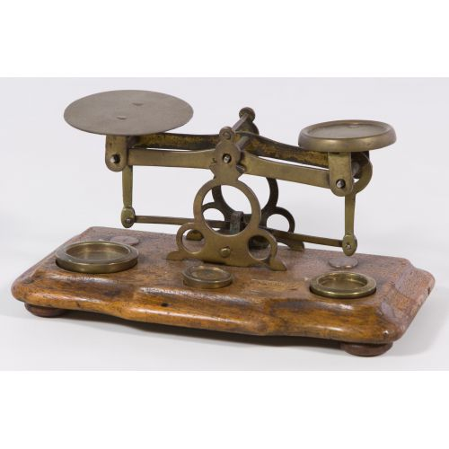 Victorian English Brass and Walnut Letter Scale