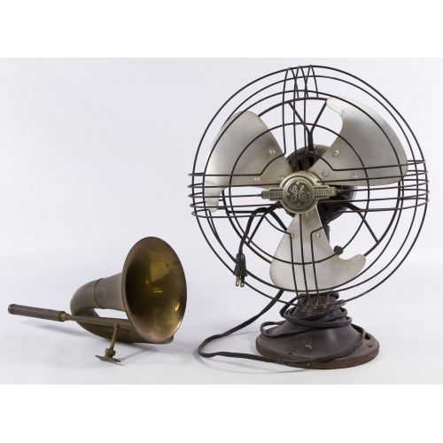 """General Electric """"Vortale"""" Table Fan and Brass Horn"""