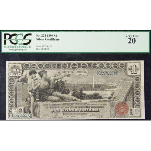 """1896 $1 """"Educational"""" VF-20 PCGS"""