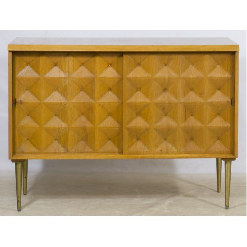 Mid-Century Modern Teak Cabinet with Quilted Front