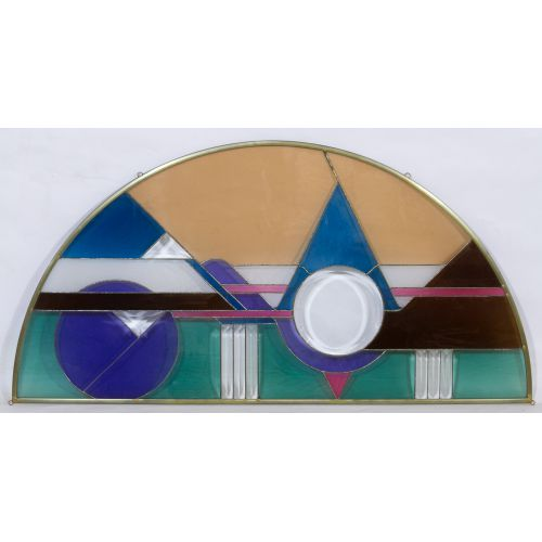 Half Moon Shaped Stained Glass Window