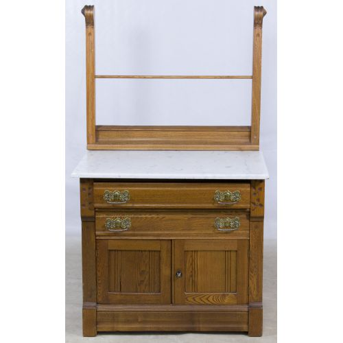 Oak Marble Top Wash Stand