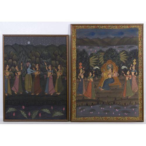 """East Indian """"Krishna"""" Tempera on Cotton"""