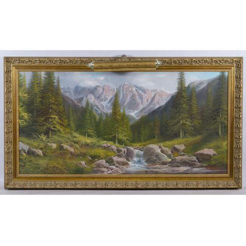 "De Rosa (20th Century) ""Mountains"" Oil on Canvas"