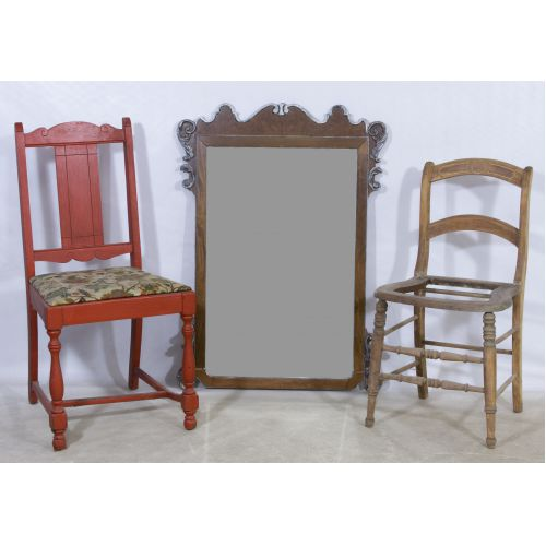 Victorian Side Chair, Vase and Mirror Assortment