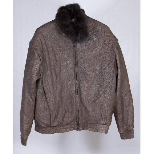 Opossum Fur Lined Leather Coat
