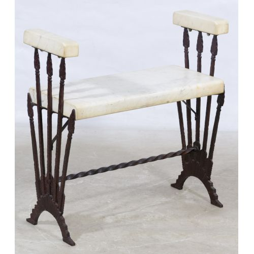 Art Deco Cast Metal and Marble Bench