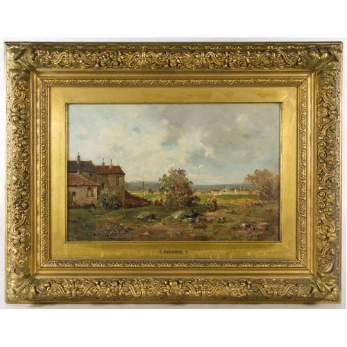 "Louis Taverne (Belgian, 1859-1934) ""Landscape"" Oil on Board"