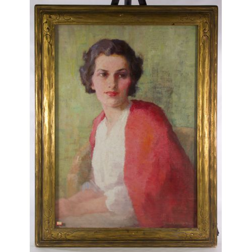 "Sarah Crosby Buck (American, 19th/20th Century) ""Portrait"" Oil on Canvas"