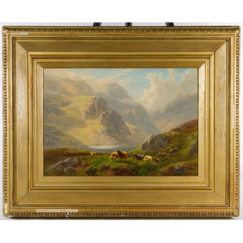 "William Davies (English, 1826-1910) ""Field of Animals"" Oil on Canvas"