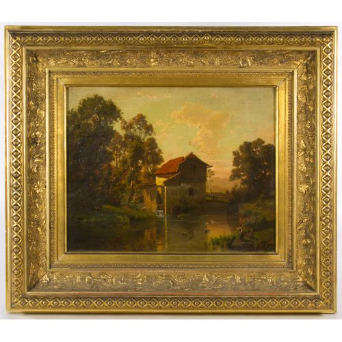 "B. V. Grale (German, 19th Century) ""Mill"" Oil on Canvas"