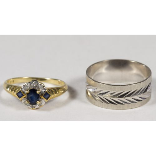 14k White Gold Band Ring and 10k Gold Ring