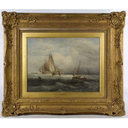 "John Jock Wilson (English, 1774-1855) ""Ships"" Oil on Canvas"