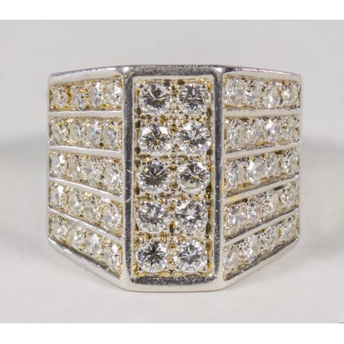 Rhodium Plated 18k Gold and Diamond Ring
