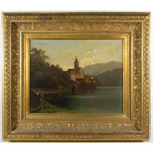 "B. V. Grale (German, 19th Century) ""European City"" Oil on Canvas"