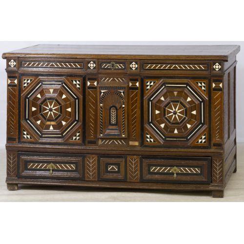 Flemish Oak Cabinet with Bone Inlay