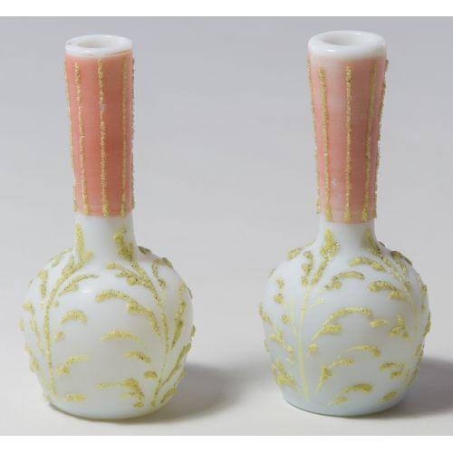 Satin Glass Coralene Vases