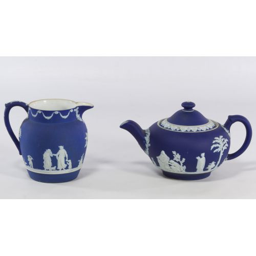 Wedgwood Blue Jasperware Teapot and Creamer
