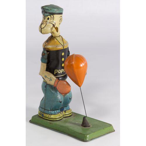 """J. Chein """"Popeye Floor Puncher"""" Tin Wind-Up Toy"""