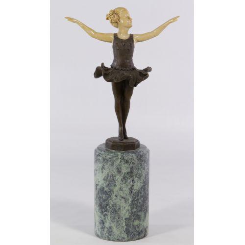(After) Ferdinand Preiss (German, 1882-1943) Bronze Ballerina Statue