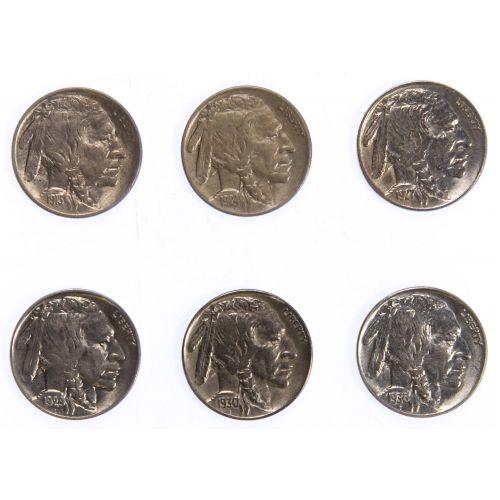 1913, 1924, 1927, 1929, 1930-S, 1936 5c AU/UNC Details