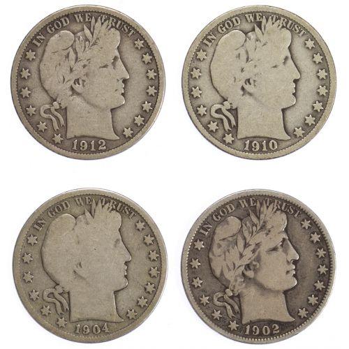 1902, 1904-S, 1910, 1912-D 50c G/VG+