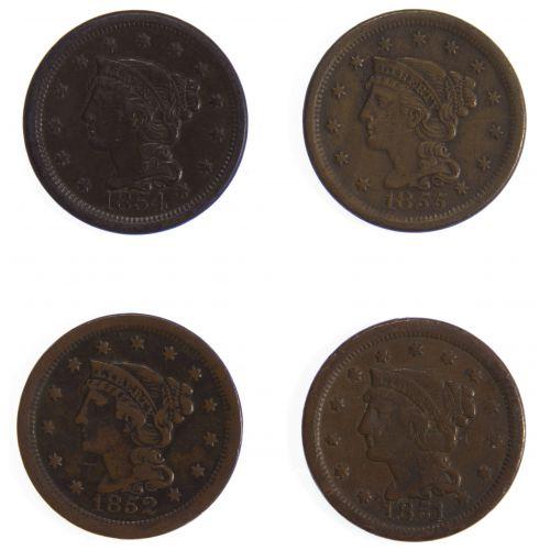 1851, 1852, 1854, 1855 1c F/XF