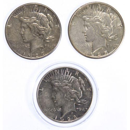 1925-S, 1927-S, 1928-S $1 XF