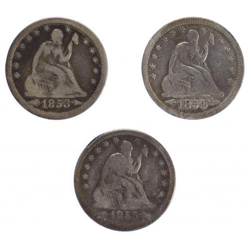1853, 1853-O, 1854-O 25c G/VF