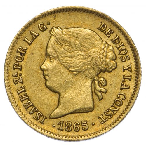 Philippines: 1865 One Peso Gold Coin XF