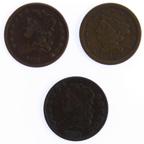 1832, 1834 1/2c F/VF Details