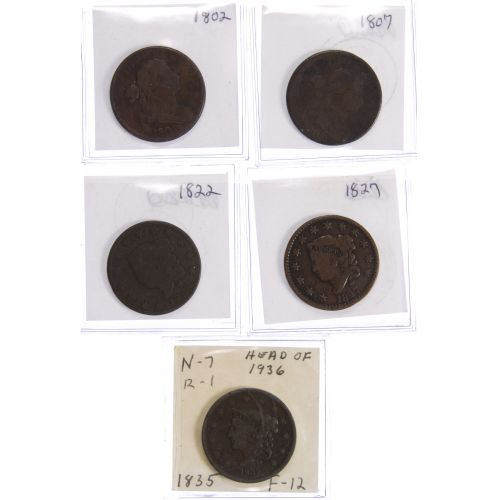 1802, 1807, 1822, 1827, 1835 1c Assortment G/F Details