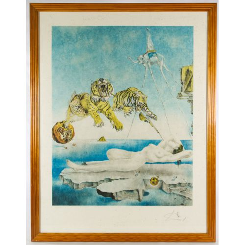 """Salvador Dali (Spanish, 1904-1989) """"Dream Caused by the Flight of a Bee Around a Pomegranate a Second Before Awakening"""" Lithograph"""