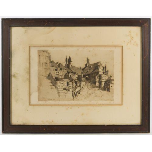 """Charles Adams Platt (American, 1861-1933) """"Rye Sussex"""" Etching"""