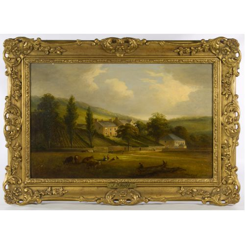 "John Douglas Scott (English, d.1885) ""Countryscape"" Oil on Canvas"