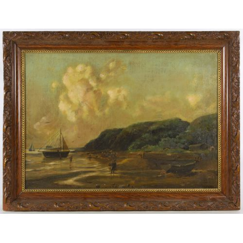 "Unknown Artist (American, 19th Century) ""Coast Line"" Oil on Canvas"