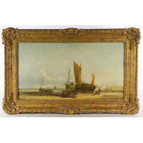 "George D. Callow (English, 1822-1878) ""Coast Scene"" Oil on Canvas"