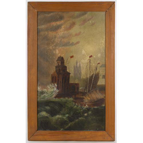 "Unknown Artist (American, 19th Century) ""Harbor Scene"" Oil on Canvas"