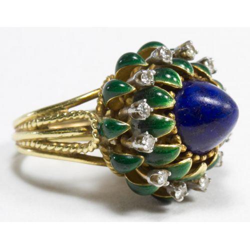 "La Triomphe 18k Gold, Lapis Lazuli and Diamond ""Lotus"" Ring"