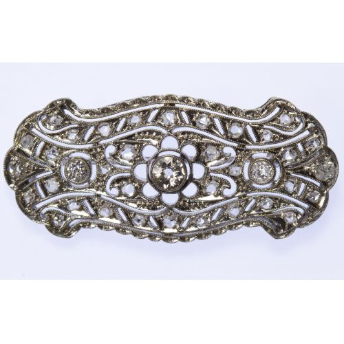 14k White Gold and Diamond Brooch