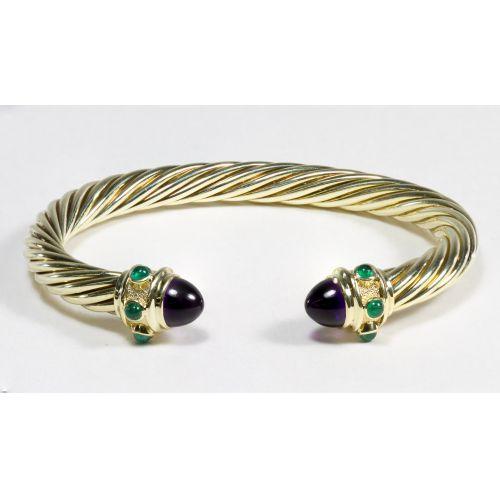 David Yurman 14k Gold, Amethyst and Emerald Cable Bracelet