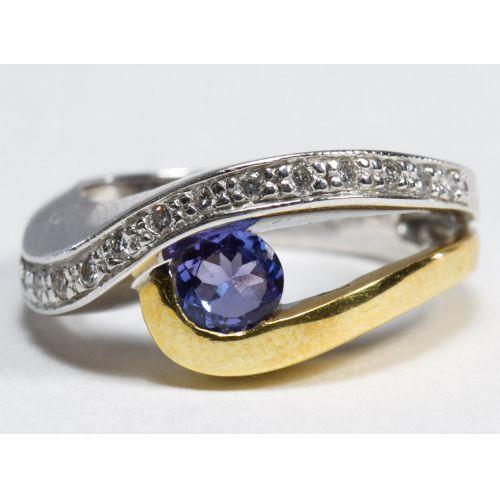 18k White and Yellow Gold, Tanzanite and Diamond Ring
