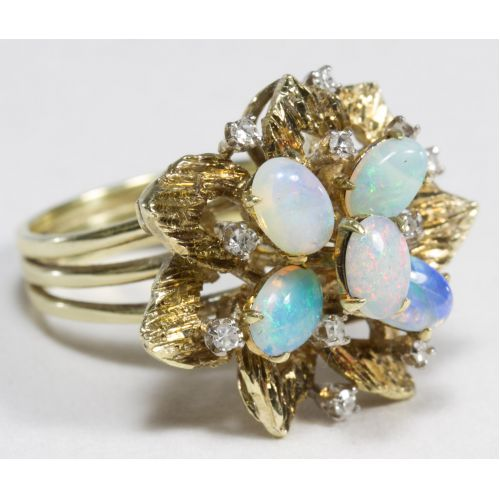14k Gold, Opal and Diamond Ring