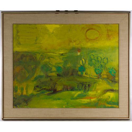 "Eleanor Coen (American, 1916-2010) ""Yellow Sun Landscape"" Oil on Canvas"