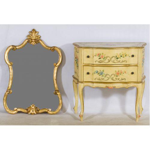 Painted Dresser & Gilt Mirror