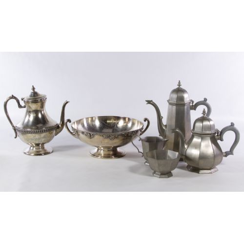 Silverplate and Pewter Hollowware Assortment