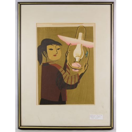 """Maekawa Sempan (Japanese, 1888-1960) """"Lamp"""" Wood Block Print"""
